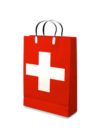 Shopping bag with Swiss  flag. photo
