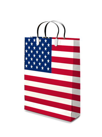 retail business: Shopping bag with USA  flag. Retail business on white background