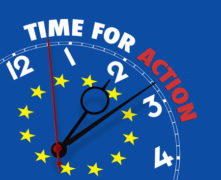 European flag clock with words Time for Action on its face -clipping path