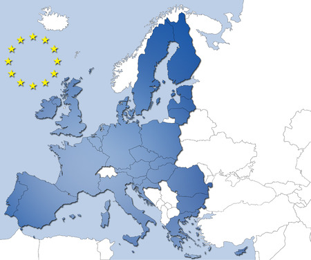 The 28 countries of the European Union and their flags- path for countries and stars Stock Photo