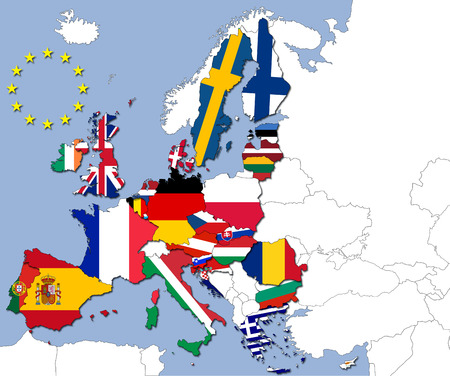 The 28 countries of the European Union and their flags