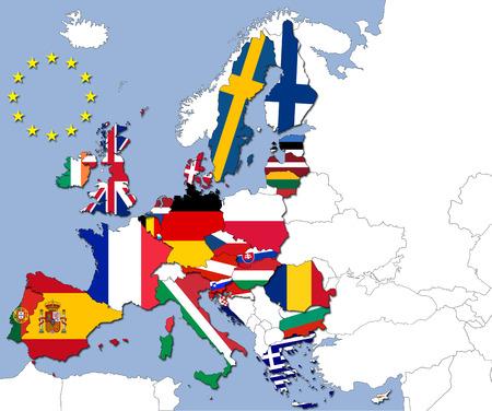 Die 28 Länder der Europäischen Union und ihre Flaggen Lizenzfreie Bilder