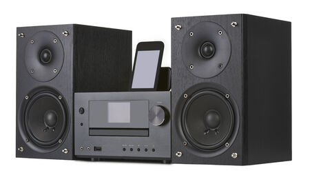 Network receiver system,digital usb, cd player and mp3 against white background photo