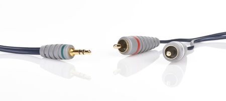 minijack: Jack and mini-jack plug sound or tv glossy wire isolated on white background Stock Photo