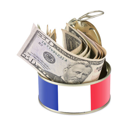 Tin can with US dollars isolated on white background - clipping path - France flag as label photo