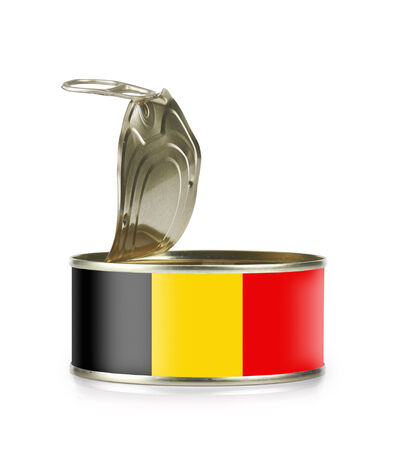 Open an empty tin can flagged Belgium isolated on white background - clipping path and path for label  photo
