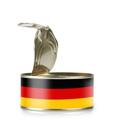 Open an empty tin can flagged Germany isolated on white background - clipping path and path for label  photo