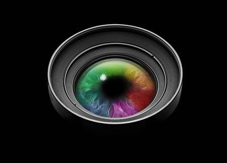 Camera lens with multicolored eye on black photo