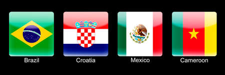 retina display: Smartphone icons with group A flags on black background Stock Photo