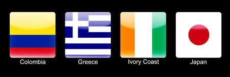 retina display: Smartphone icons with group C flags on black background Stock Photo