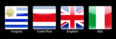 retina display: Smartphone icons with group D flags on black background Stock Photo