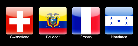 retina display: Smartphone icons with group E flags on black background