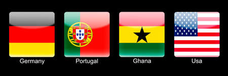 retina display: Smartphone icons with group G flags on black background Stock Photo