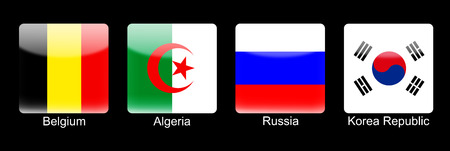 Smartphone icons with group H flags on black blackground photo