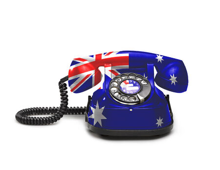 Office: old and vintage telephone with the union Australia on white background