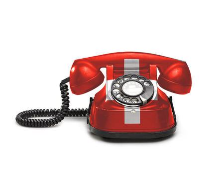 Office: old and vintage telephone with the union Swiss on white background Stock Photo