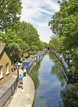 little venice: Boats on the Regents Canal at Little Venice in London, England