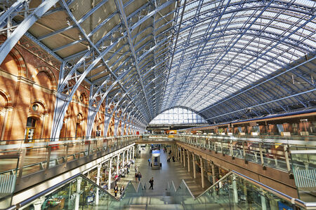 LONDON,ENGLAND JUNE 08: St Pancras Station on June 06, 2014 in London, England.St Pancras Station is the main rail terminal for Eurostar train departures from London to the European mainland. Editorial