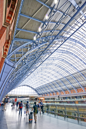 LONDON -ENGLAND JUNE 07: St Pancras Station on June 07, 2014 in London, England.St Pancras Station is the main rail terminal for Eurostar train departures from London to the European mainland. Editorial
