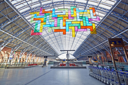 LONDON - JUNE 8.  Restored and redeveloped St Pancras International rail station and the Chromolocomotion by David Batchelor; June 7, 2014 in London, UK. Stock Photo - 29098483