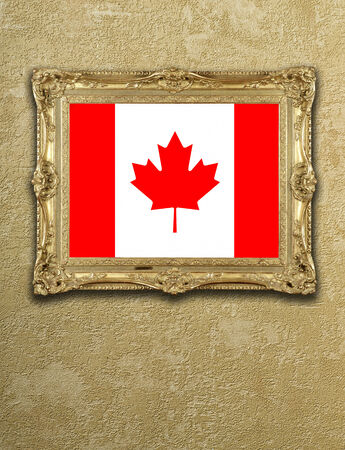 Flag from Canada exposition in gold frame on textured wall photo