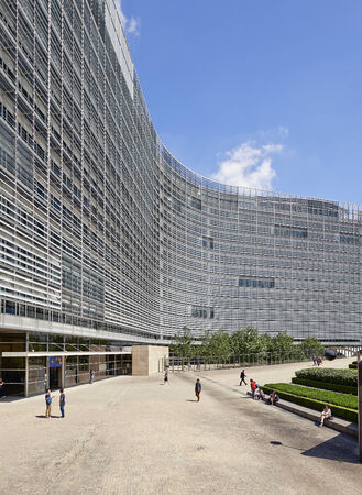 eec: BRUSSELS, BELGIUM - JULY 16, 2014:The Berlaymont is an office building that houses the headquarters of the European Commission, which is the executive of the EU, on July 16 in Brussels Editorial