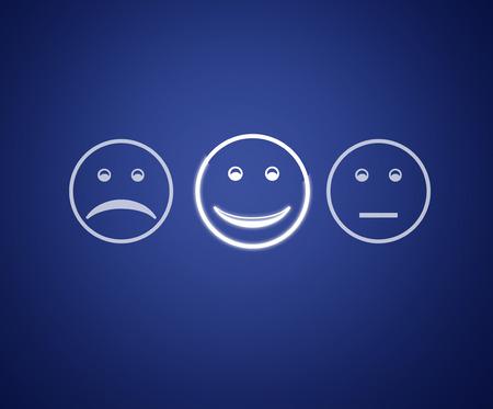 Emoticons Bildschirm Kundenservice Bewertungsbogen.