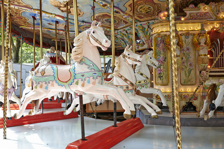 Colored Carousel Horse turn without any personne