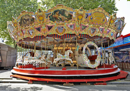 BRUSSELS, BELGIUM - JULY 27, 2014: Colourful carrousel on the largest fun fair from Brussels in Brussels, Belgium 2014 . It takes place every year in July.