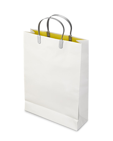 opened bag: Shopping Bag opened isolated on white with clipping path