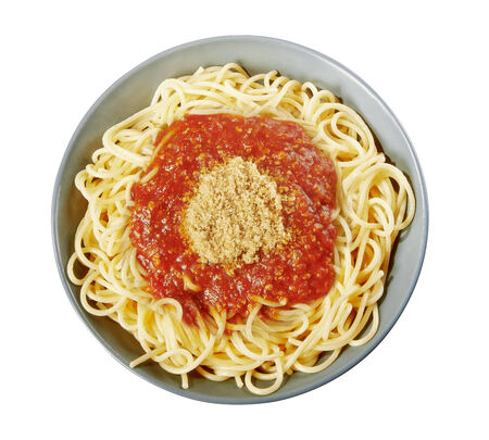 Italian spaghetti with Bolognese sauce clipping path for the plate photo