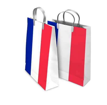 opened bag: Two Shopping Bags opened and closed with french flag isolated on white. There is a different path for each bag Stock Photo