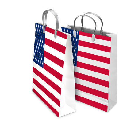 opened bag: Two Shopping Bags opened and closed with USA flag isolated on white. There is a different path for each bag Stock Photo