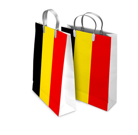 opened bag: Two Shopping Bags opened and closed with the flag from  Belgium isolated on white. There is a different path for each bag