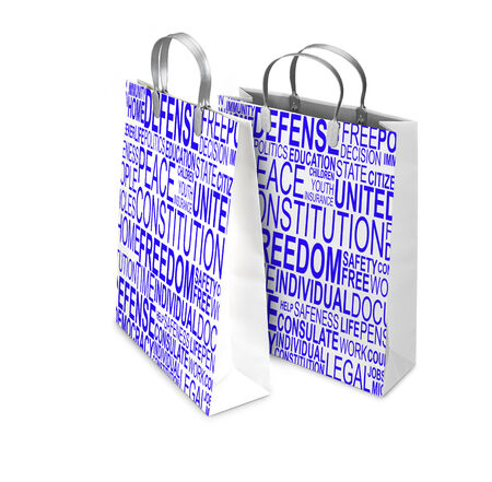 liberties: Two Shopping Bags opened and closed with Human rights words isolated on white. There is a different path for each bag