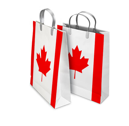 opened bag: Two Shopping Bags opened and closed with Canada flag isolated on white. There is a different path for each bag Stock Photo