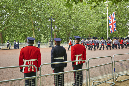 LONDON, ENGLAND - June 07, 2014: Rescue officers on Guard near Buckingham Palace, London for Trooping the Colour in London, England the 07 june 2014