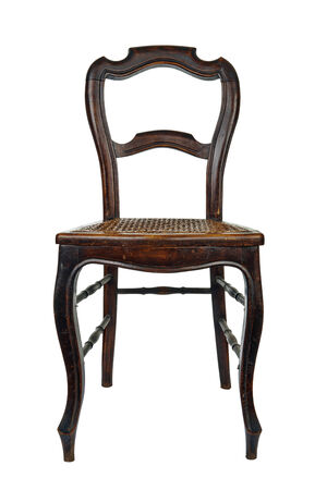 cane chair: Antique wooden chair with cane isolated on white Stock Photo