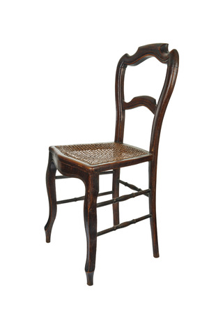 cane chair: Antique wooden chair with cane isolated on white - 34 Front view