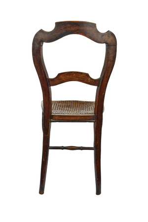 cane chair: Antique wooden chair with cane isolated on white - back view Stock Photo