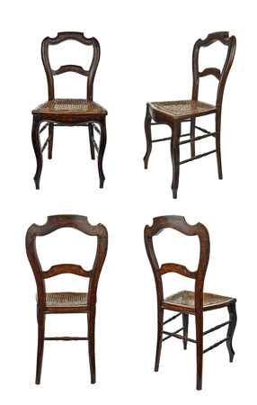 cane chair: Antique wooden chair with cane isolated on white - four views