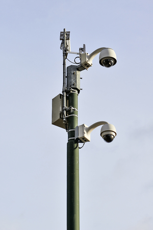 security technology: Security camera in urban street with transmitter - new technology 2015