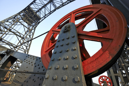 ship lift: BRUSSELS, BELGIUM - February 16, 2015: The Bridge of Buda (Budabrug) industrial lift bridge on the ship canal from Brussels to the Scheldt opened in 1955 by Prince Albert Editorial