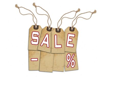 commercial event: Sale concept, formed of textured tags; great for shopping, sales, advertising, discounts and promotion. Stock Photo