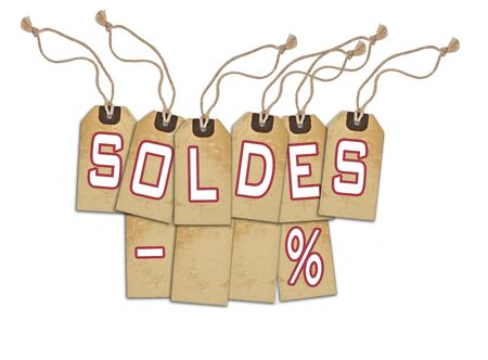 commercial activity: Sale concept, formed of textured blank tags; great for shopping, sales, advertising, discounts and promotion.French version Stock Photo