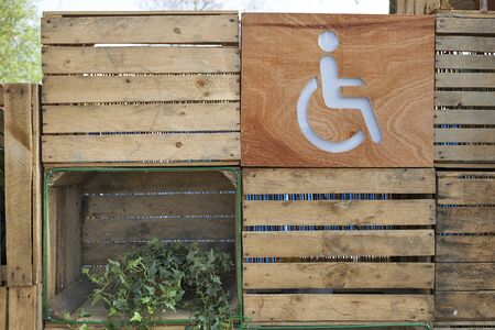 male likeness: Disabled person toilet directions sign for outdoor public toilets