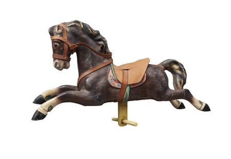 Alte Holz-und Vintage-Karussell-Pferd getrennt auf Weiß mit Ausschnittspfad Lizenzfreie Bilder