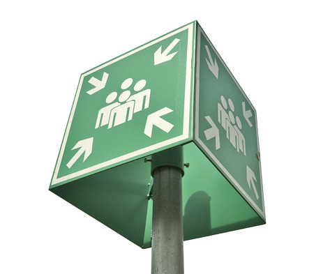 assembly point: Meeting or assembly point sign isolated on white with clipping path