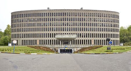 renown: BRUSSELS, BELGIUM - May 01, 2015: The building of the VUB was built between 1971 and 1978 to the designs of Renaat Braem, Belgian architect of international renown. Modernist style in Ixelles Editorial