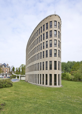 modernist: BRUSSELS, BELGIUM - May 01, 2015: The building of the VUB was built between 1971 and 1978 to the designs of Renaat Braem, Belgian architect of international renown. Modernist style in Ixelles Editorial